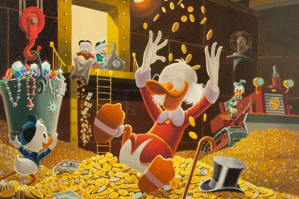Le riche oncle picsou, grand amateur d'or