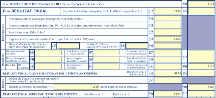 LMNP - Cerfa 2031-2033